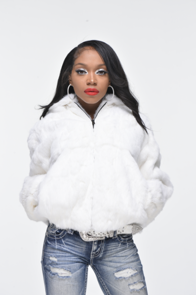 Ladies Rabbit Hooded Bomber Jacket - White