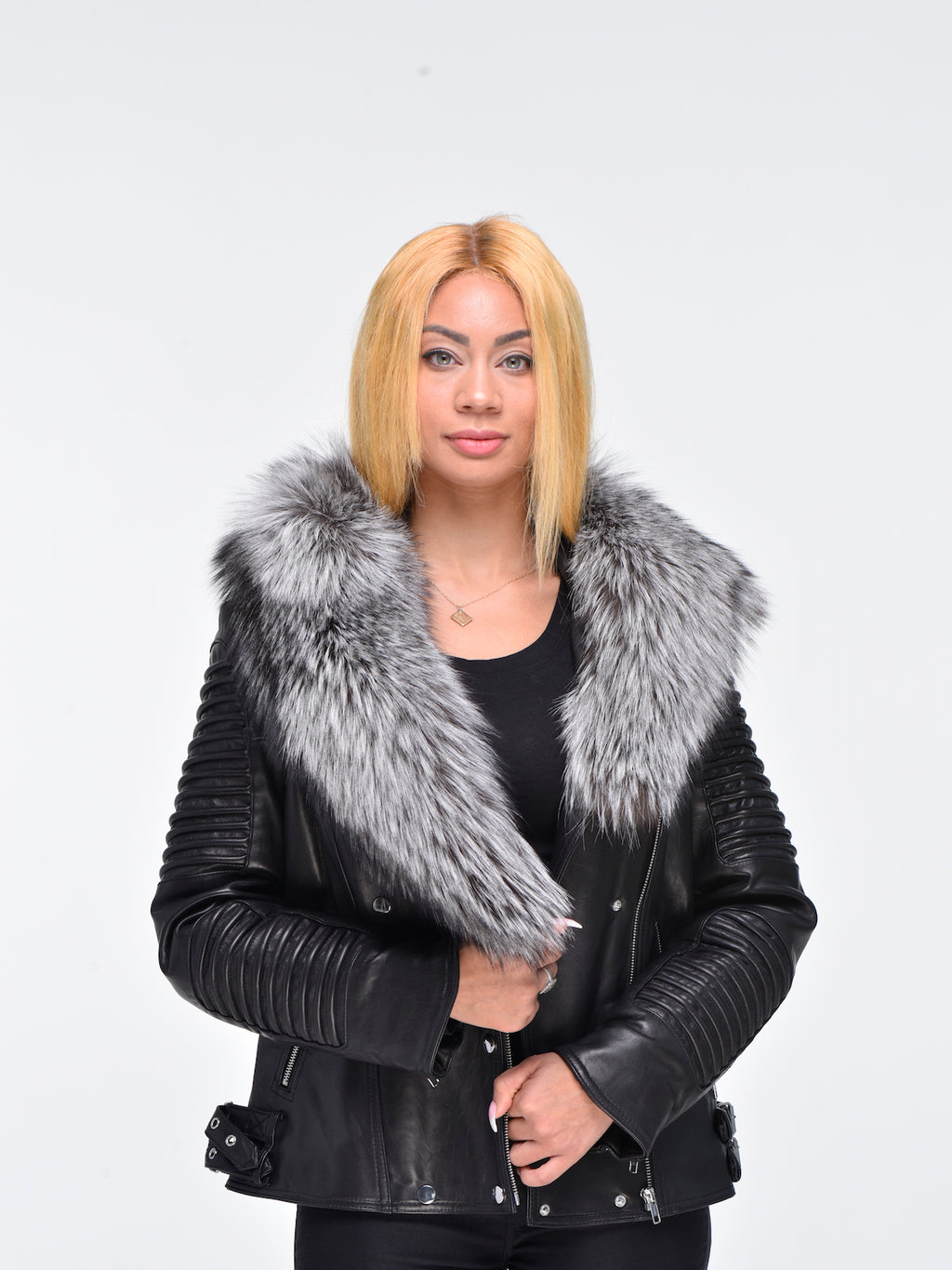 Mason and Cooper Ladies Asymmetrical Lambskin Biker Jacket with Silver Black Fox Fur
