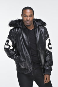 Men's Eight Ball Faux Leather Bomber Jacket with Detachable Hood – Black