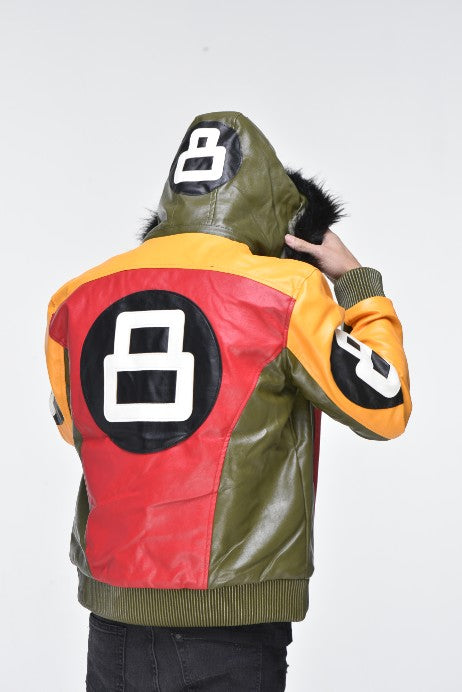 Men's Eight Ball Faux Leather Bomber Jacket with Detachable Hood – Multi Color