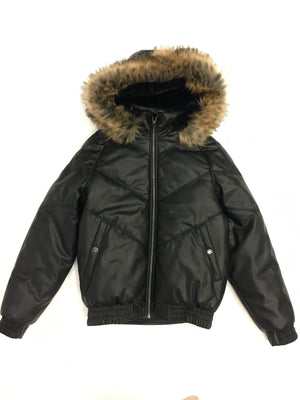 Kids Faux Leather V Bomber Jacket with Detachable Faux Fur Hood - Black
