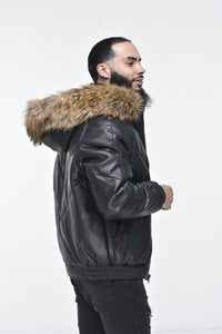 Men's Faux Leather V Bomber Jacket with Detachable Faux Fur Hood - Black