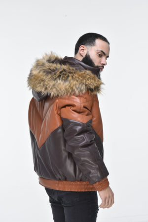 Men's Faux Leather V Bomber Jacket with Detachable Faux Fur Hood - Cognac