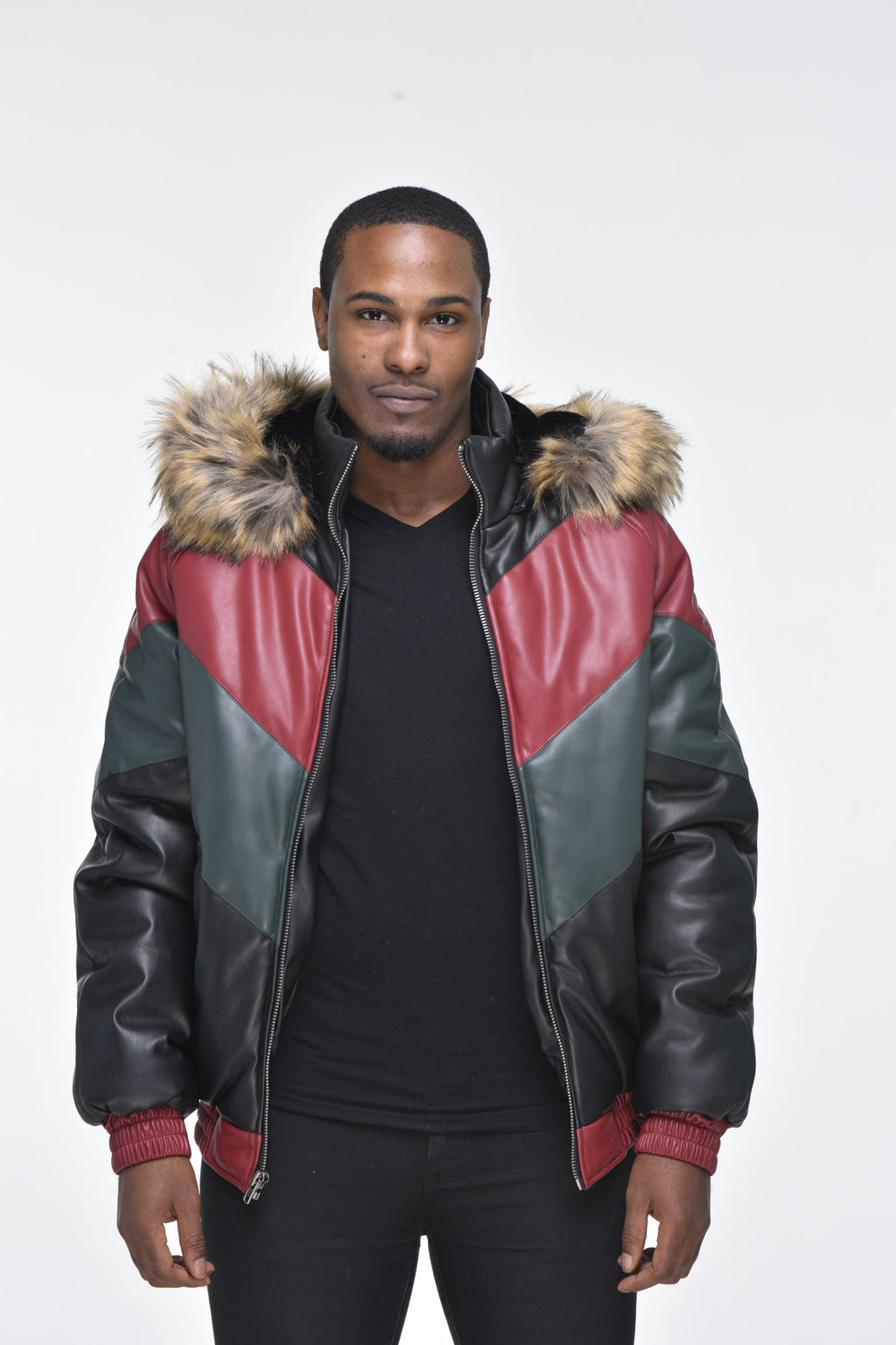 Men's Faux Leather V Bomber Jacket with Detachable Faux Fur Hood - Red, Green, Black