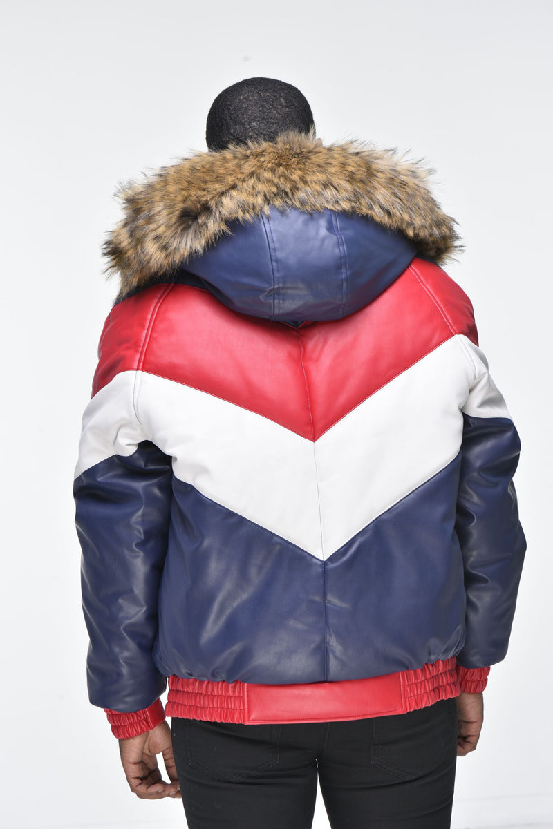 Men's Faux Leather V Bomber Jacket with Detachable Faux Fur Hood - Red, White, Blue