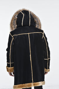 Men's ¾ Toggle Faux Shearling with Detachable Hood - Black with Natural