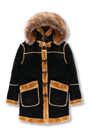 Kids ¾ Toggle Faux Shearling with Detachable Hood - Black with Natural
