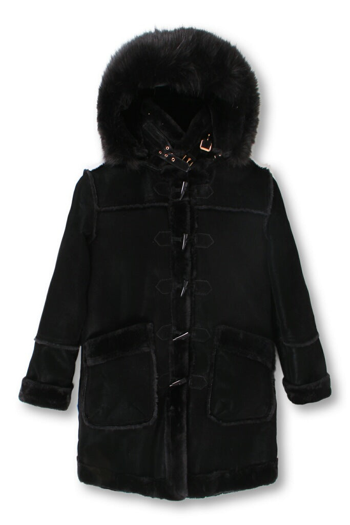 Men's ¾ Toggle Faux Shearling with Detachable Hood - Black on Black