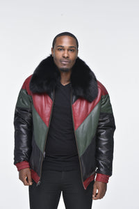 Men's Lambskin V Bomber Jacket with Detachable Black Fox Collar - Multi Color