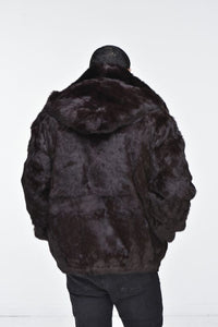 Men's Rabbit Hooded Bomber Jacket - Brown