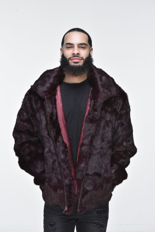 Men's Rabbit Hooded Bomber Jacket - Burgundy