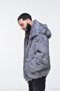 Men's Rabbit Hooded Bomber Jacket - Grey
