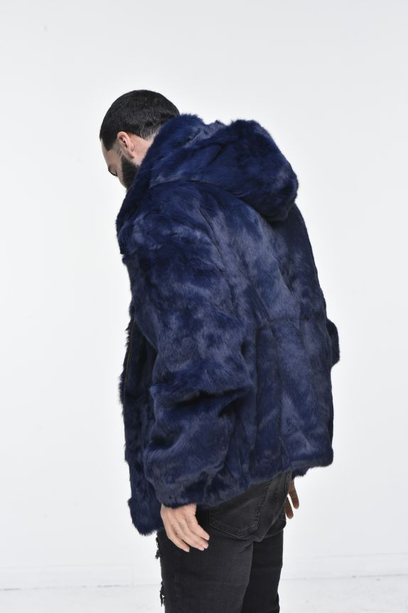 Men's Rabbit Hooded Bomber Jacket - Navy