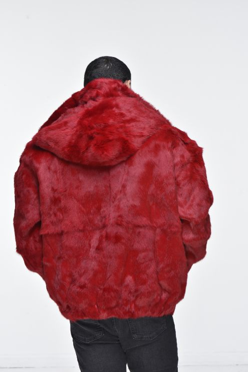 Men's Rabbit Hooded Bomber Jacket - Red