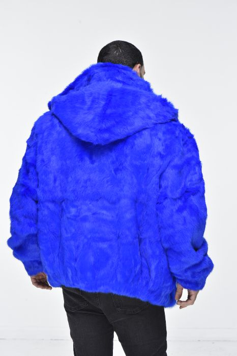 Men's Rabbit Hooded Bomber Jacket - Royal Blue