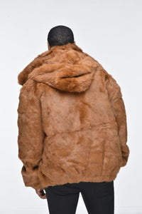 Men's Rabbit Hooded Bomber Jacket - Whiskey