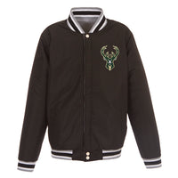 Milwaukee Bucks Reversible Fleece Jacket – Black and Grey