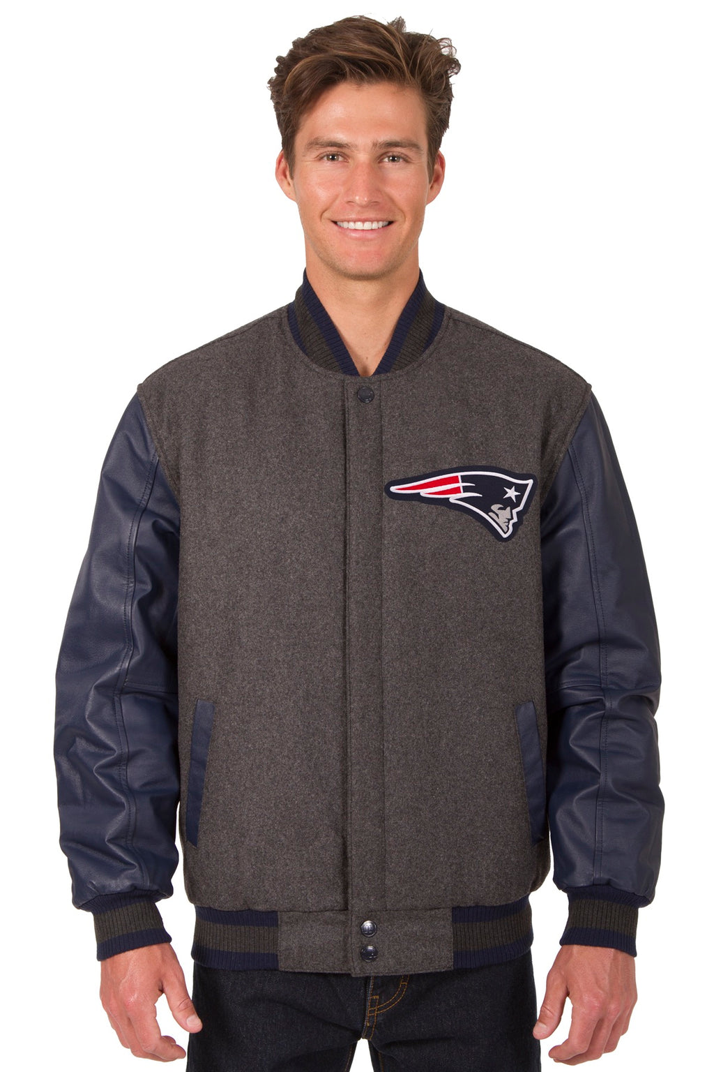 New England Patriots Reversible Jacket – Charcoal and Navy