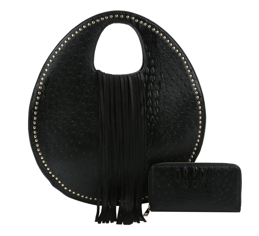 Ostrich Embossed Fringe Round Satchel Bag