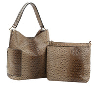 Ostrich Embossed Side Pocket 2 in 1 Hobo