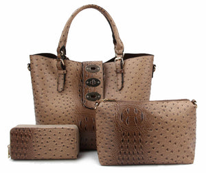Ostrich Embossed Turn-Lock 3 in 1 Tote Wallet set