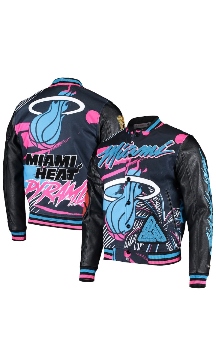 Pro Standard Black Pyramid Miami Heat Varsity Jacket – Black