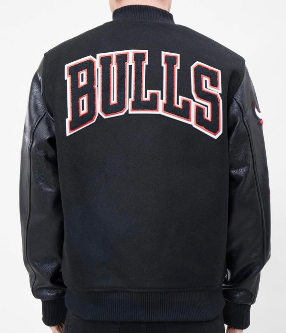 Pro Standard Chicago Bulls Varsity Jacket - Black on Black