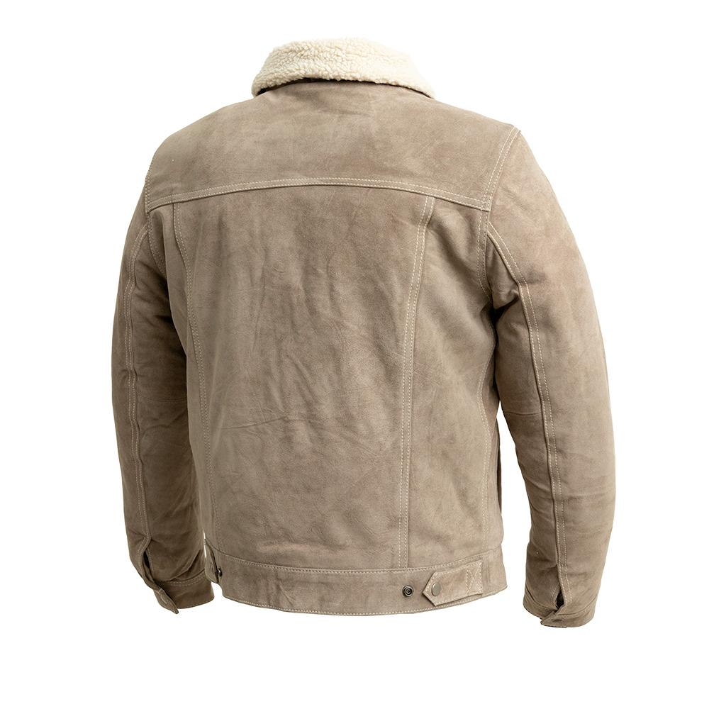 Suede Trucker - Men's Faux Shearling Cow Suede Jacket (Taupe)