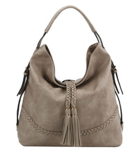Tassel Accent Braided Hobo Bag
