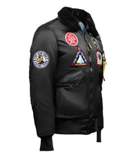 Top Gun® Eagle Nylon Bomber Jacket with Faux Fur Collar - Black