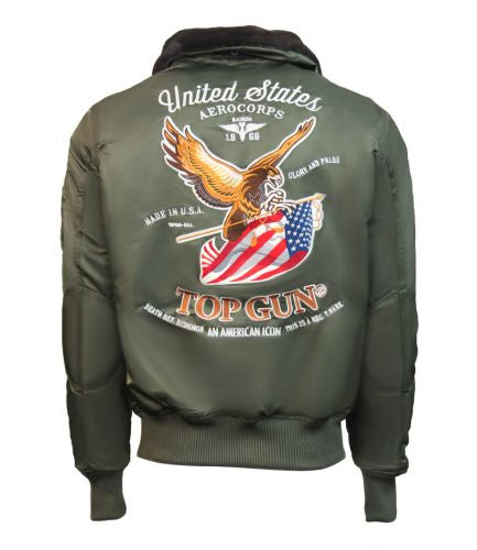Top Gun® Eagle Nylon Bomber Jacket with Faux Fur Collar - Military Green