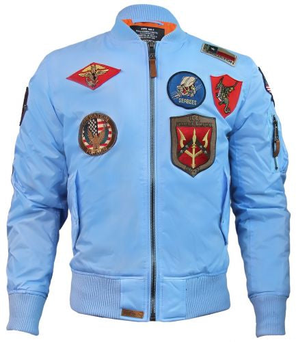 Top Gun® MA-1 Lightweight Nylon Bomber Jacket with Patches - Blue
