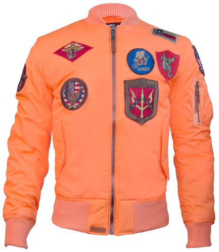 Top Gun® MA-1 Lightweight Nylon Bomber Jacket with Patches - Orange