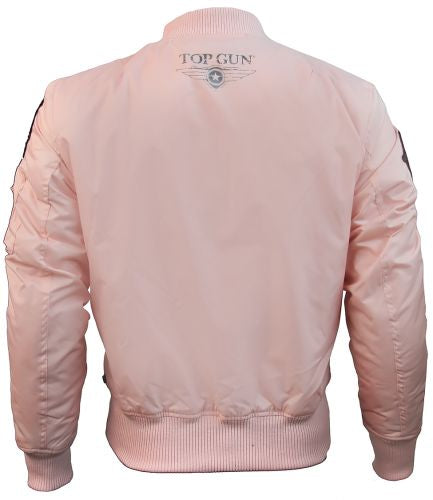 Top Gun® MA-1 Lightweight Nylon Bomber Jacket with Patches - Pink