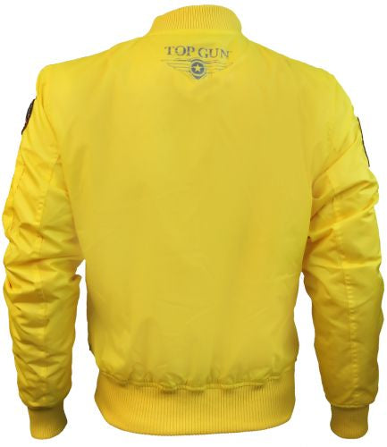 Top Gun® MA-1 Lightweight Nylon Bomber Jacket with Patches - Yellow