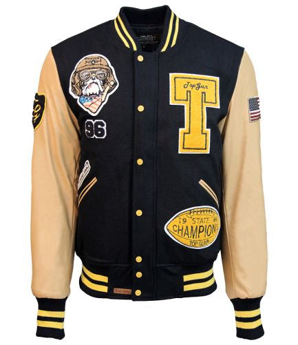 Top Gun® Wool-leather 'Top Dog' Varsity Bomber Jacket - Black and Yellow