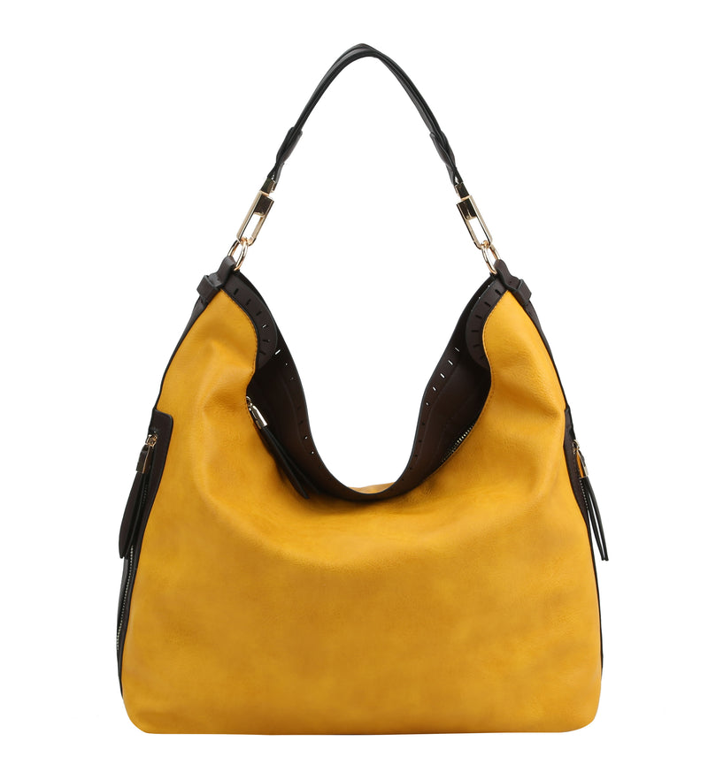 Two Tone Hobo Bag With Side Zipper