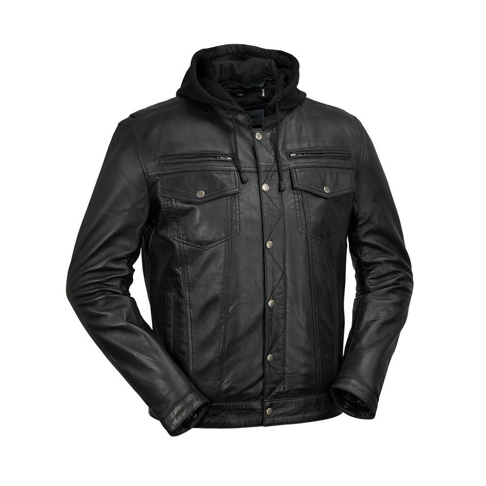 Axel - Mens's Hooded Leather Jacket
