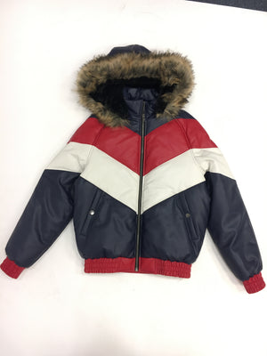 Kids Faux Leather V Bomber Jacket with Detachable Faux Fur Hood - Red,White,Blue