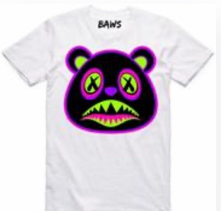 Neon Baws Bear White T-Shirt