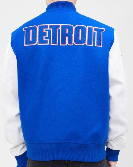 Pro Standard Detroit Pistons Varsity Jacket – Royal Blue and White