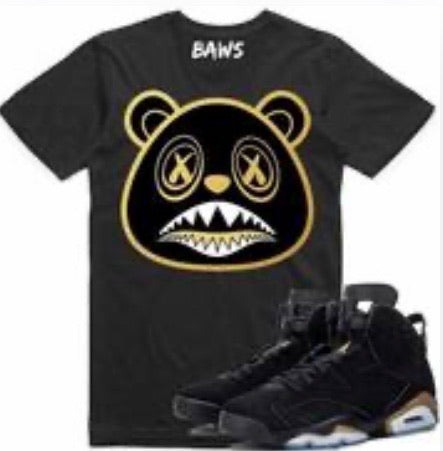 Black Out Baws Bear Gold Metallic White T-Shirt