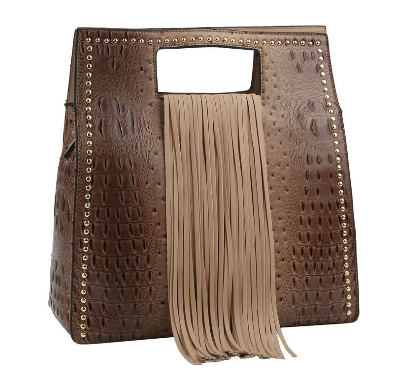 Ostrich Embossed Fringe Square Satchel Bag