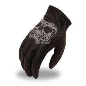 Men's Leather Motorcycle Gloves - Reflective Skull