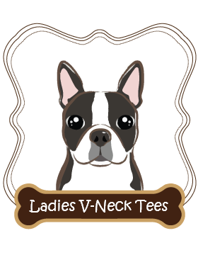 Boston Terrier Ladies V-Neck Tees