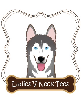 Siberian Husky Ladies V-Neck Tees