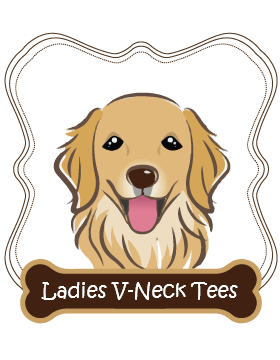 Golden Retriever Ladies V-Neck Tees