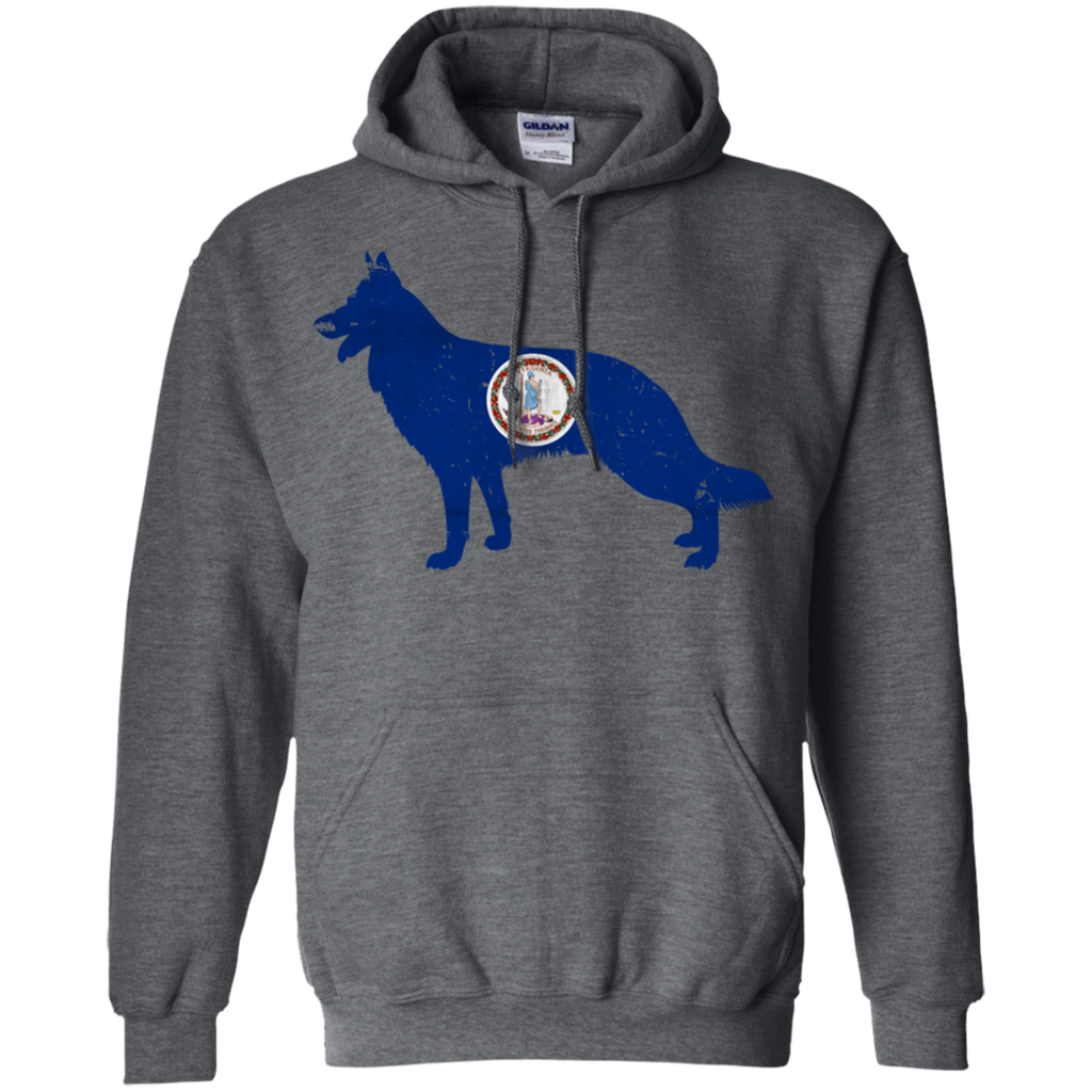 German Shepherd Virginia Flag Pullover Hoodie 8 oz.