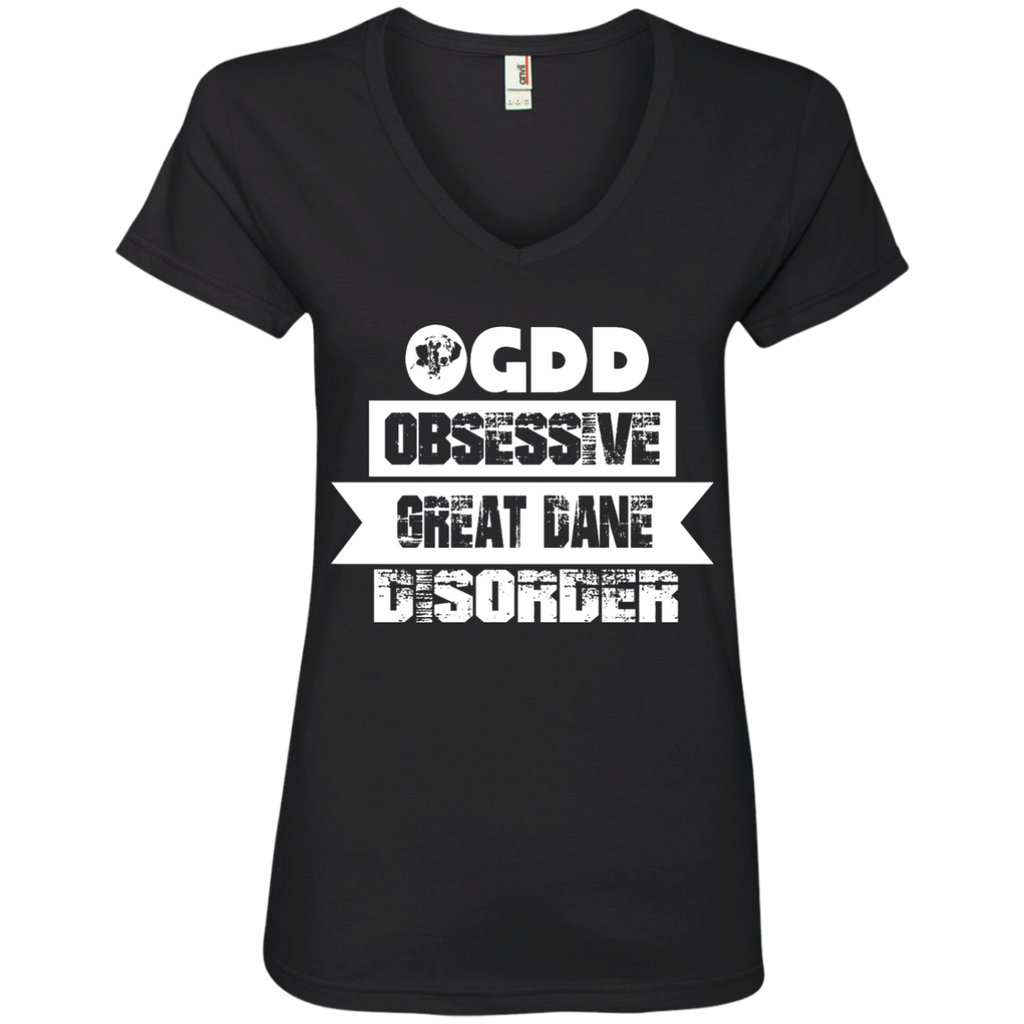 Obsessive Great Dane Ladies' V-Neck Tee