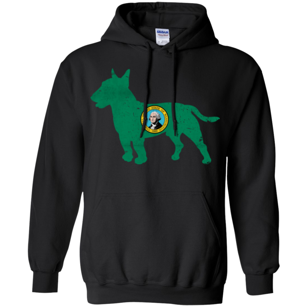 Bull Terrier Washington Flag Pullover Hoodie 8 oz.